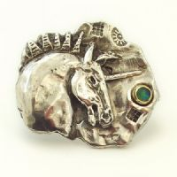 Unicorn horse brooch designer made sterling silver and opal